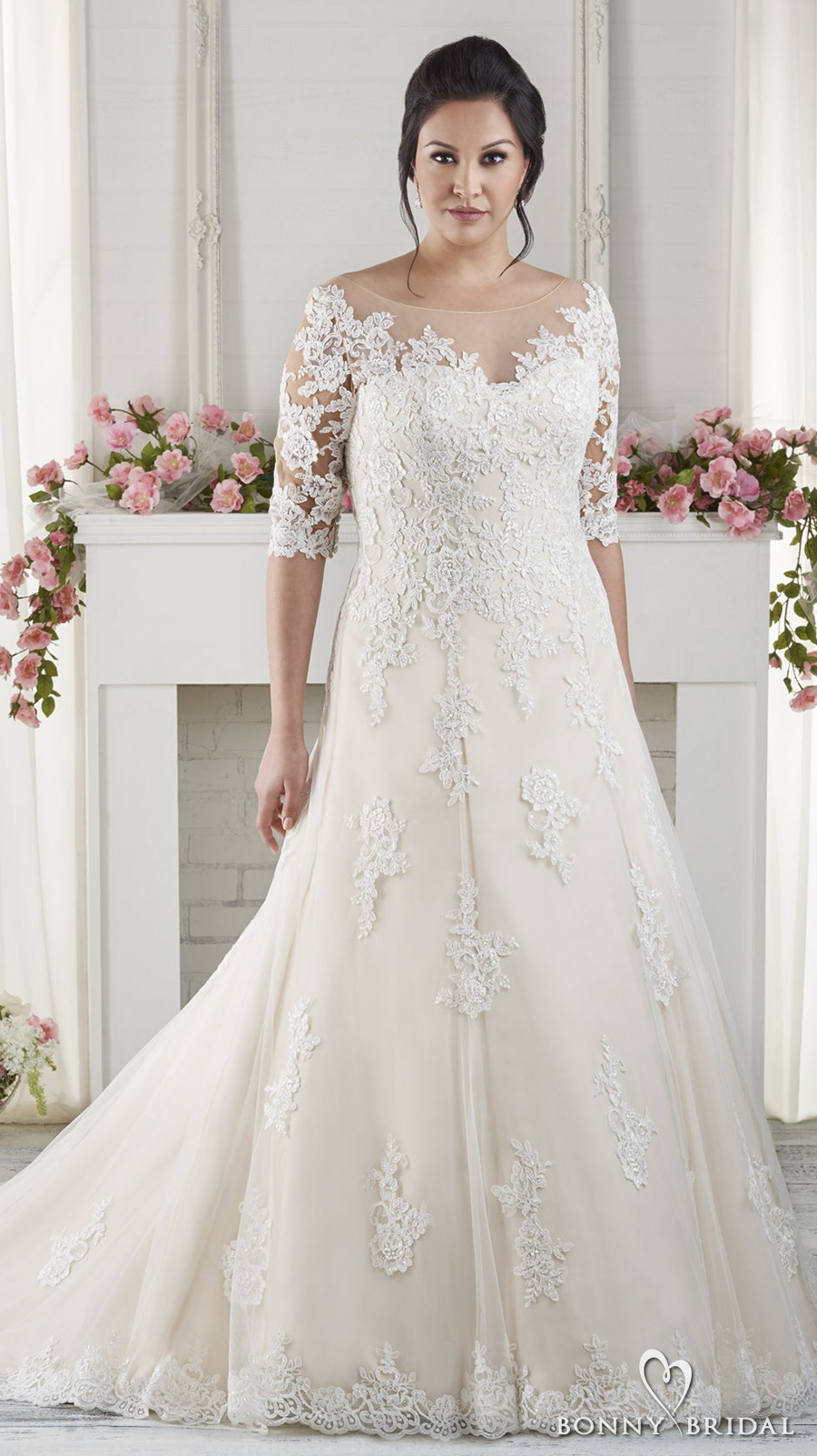 bonny bridal 2017 half sleeves sweetheart neckline heavily embellished bodice plus size drop waist modified a  line wedding dress chapel train (1618) mv