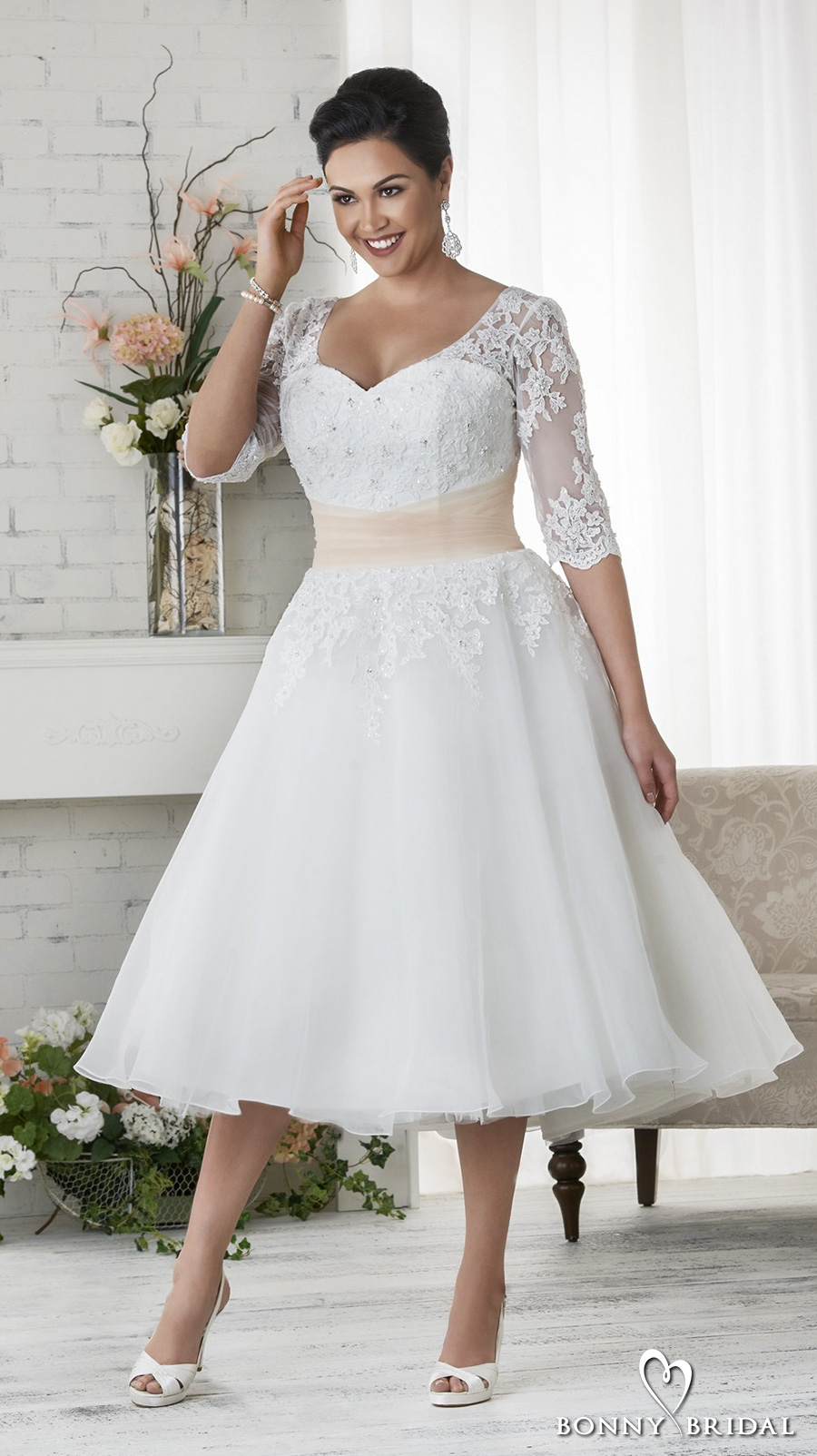 bonny bridal 2017 half sleeves sweetheart neckline heavily embellished plus size tea length short wedding dress covered lace back (1523) fv