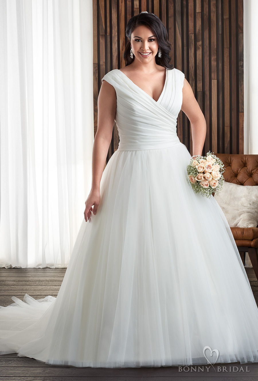 bonny bridal 2017 sleeveless v neck wrap over ruched bodice plus size a  line tulle skirt wedding dress covered back chapel train (1702) mv