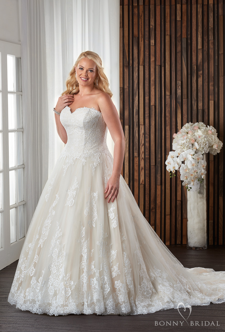bonny bridal 2017 strapless sweetheart neckline heavily embellished bodice lightly embellished skirt plus size a line wedding dress chapel train (1711) mv