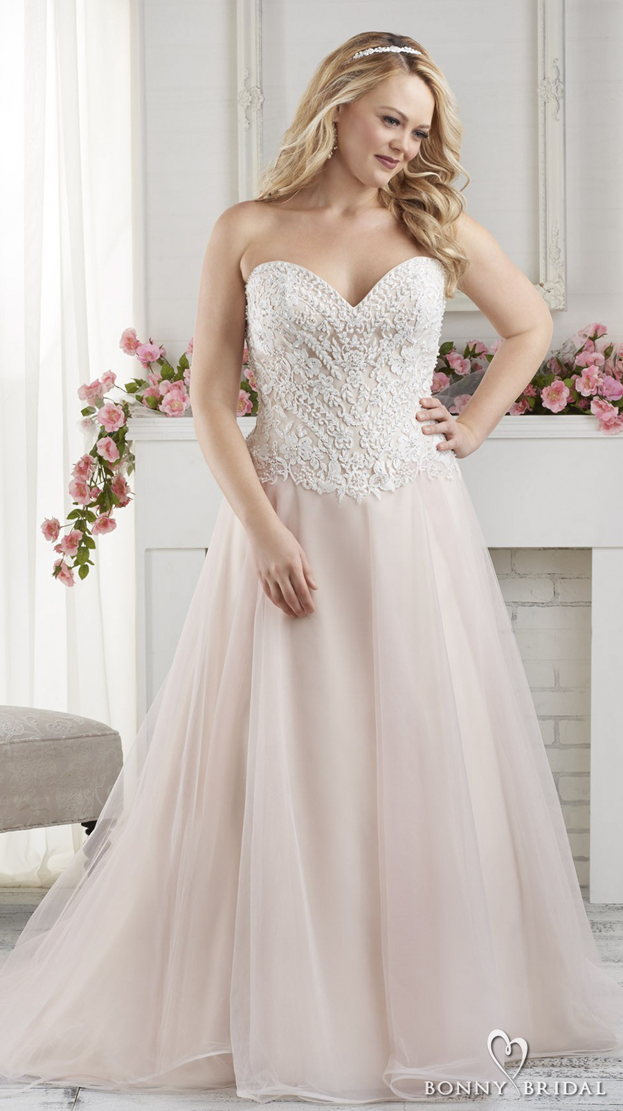 bonny bridal 2017 strapless sweetheart neckline heavily embellished bodice plus size pink blush color chapel train (1628) mv