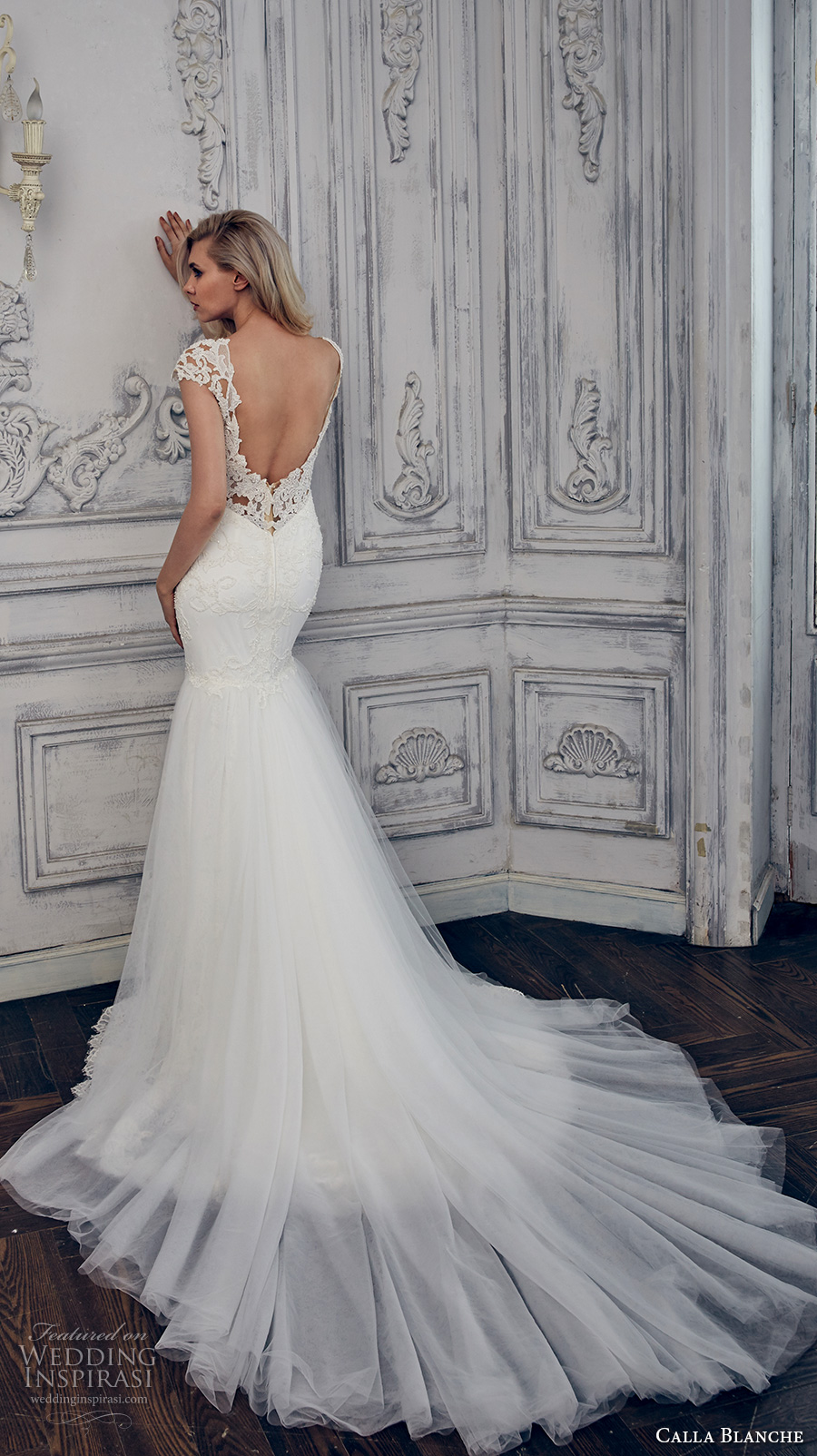 calla blanche spring 2017 bridal cap sleeves deep plunging sweetheart neckline full embellishment elegant fit and flare wedding dress open back chapel train (17101) bv
