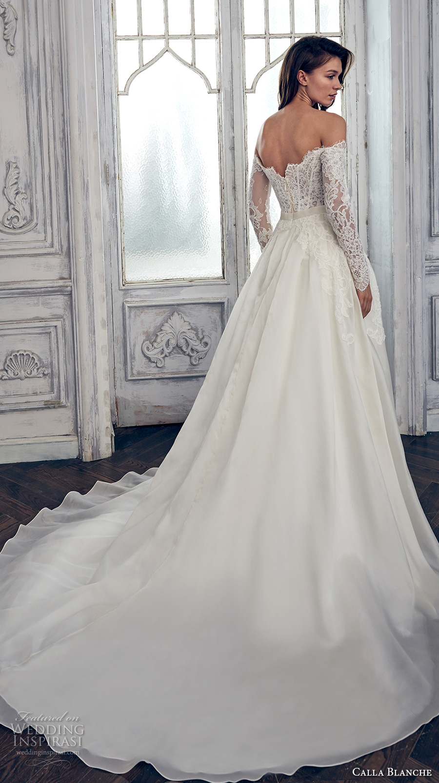 calla blanche spring 2017 bridal long sleeves off the shoulder scallop straight across neckline heavily embroidered bodice romantic a  line wedding dress chapel train (17108) bv