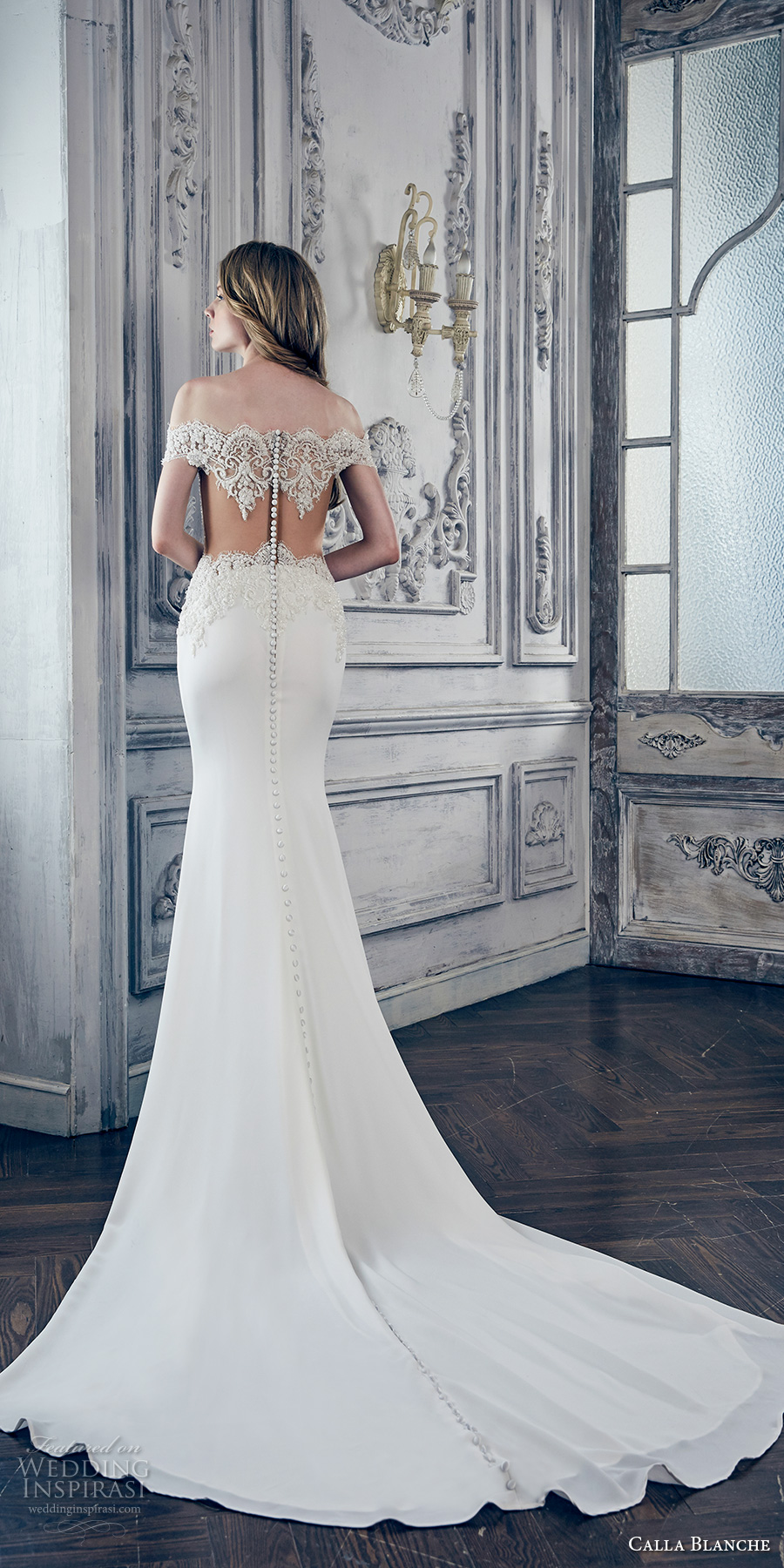 calla blanche spring 2017 bridal off the shoulder cap sleeves scallop neckline heavily embellished bodice elegant fit and flare wedding dress illusion back chapel train (17119) bv