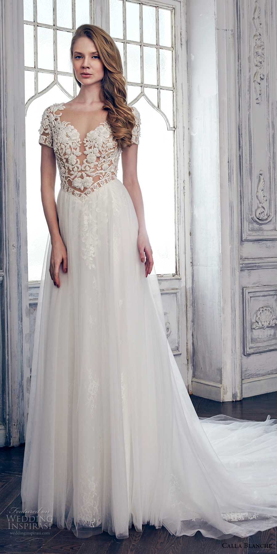 calla blanche spring 2017 bridal short sleeves sweetheart neckline heavily embroidered bodice romantic sexy modified a  line wedding dress keyhole back chapel train (17110) mv