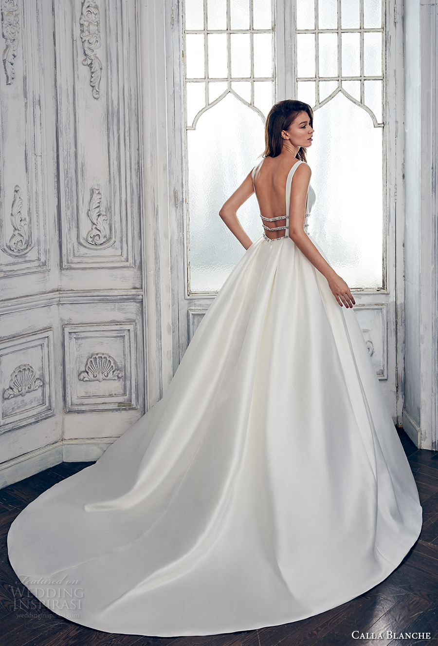 calla blanche spring 2017 bridal sleeveless with strap deep plunging v neck lightly embellished bodice clean side open romantic a  line wedding dress open low back long train (17111) bv