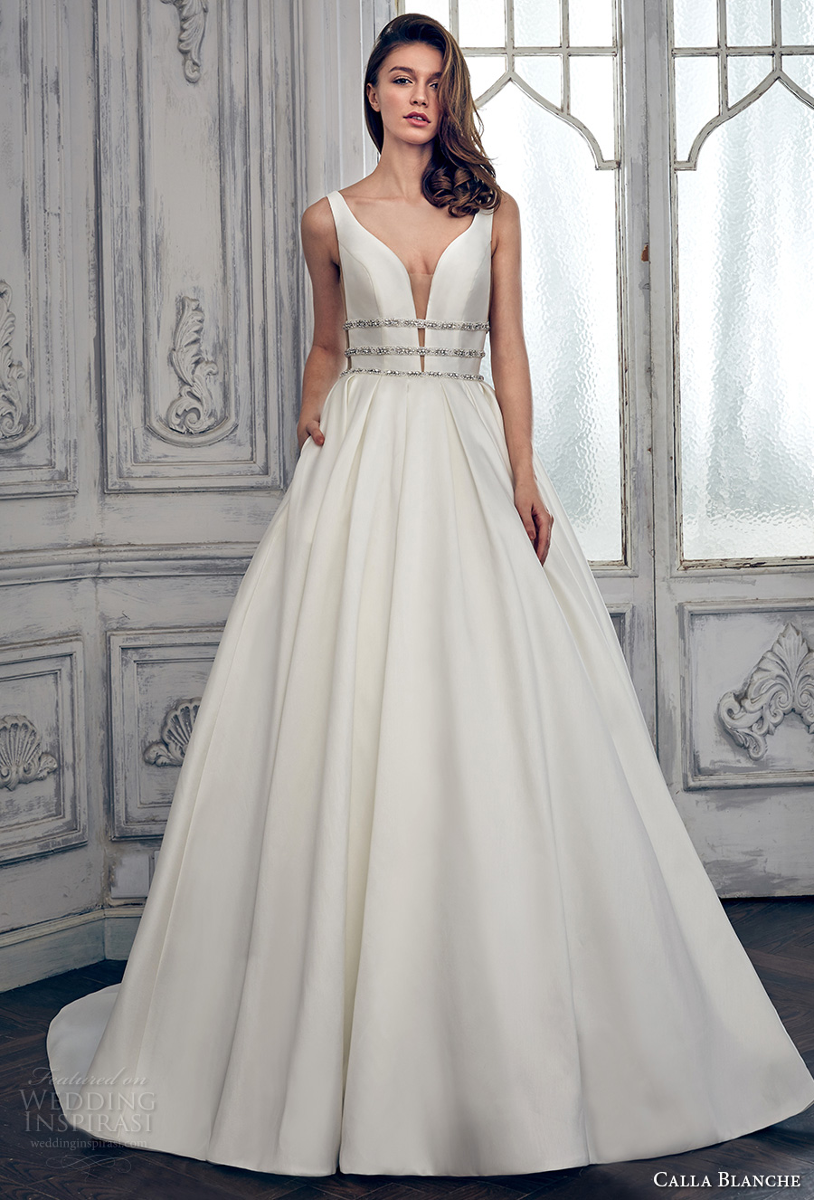 calla blanche spring 2017 bridal sleeveless with strap deep plunging v neck lightly embellished bodice clean side open romantic a  line wedding dress open low back long train (17111) mv
