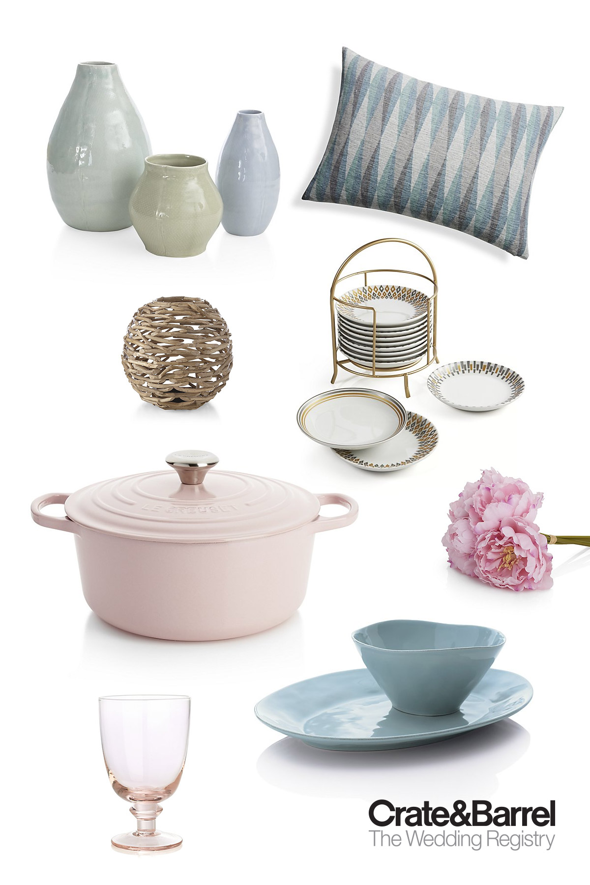crate and barrel wedding registry 2017 pastel pink blue rose quartz serenity gifts