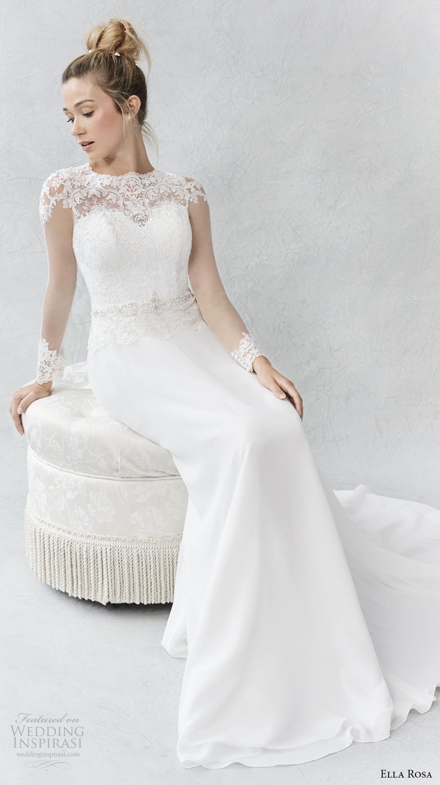ella rosa spring 2017 bridal long sleeves illusion jewel sweetheart neckline heavily embellished bodice romantic elegant modified a  line wedding dress lace back sweep train (366) mv
