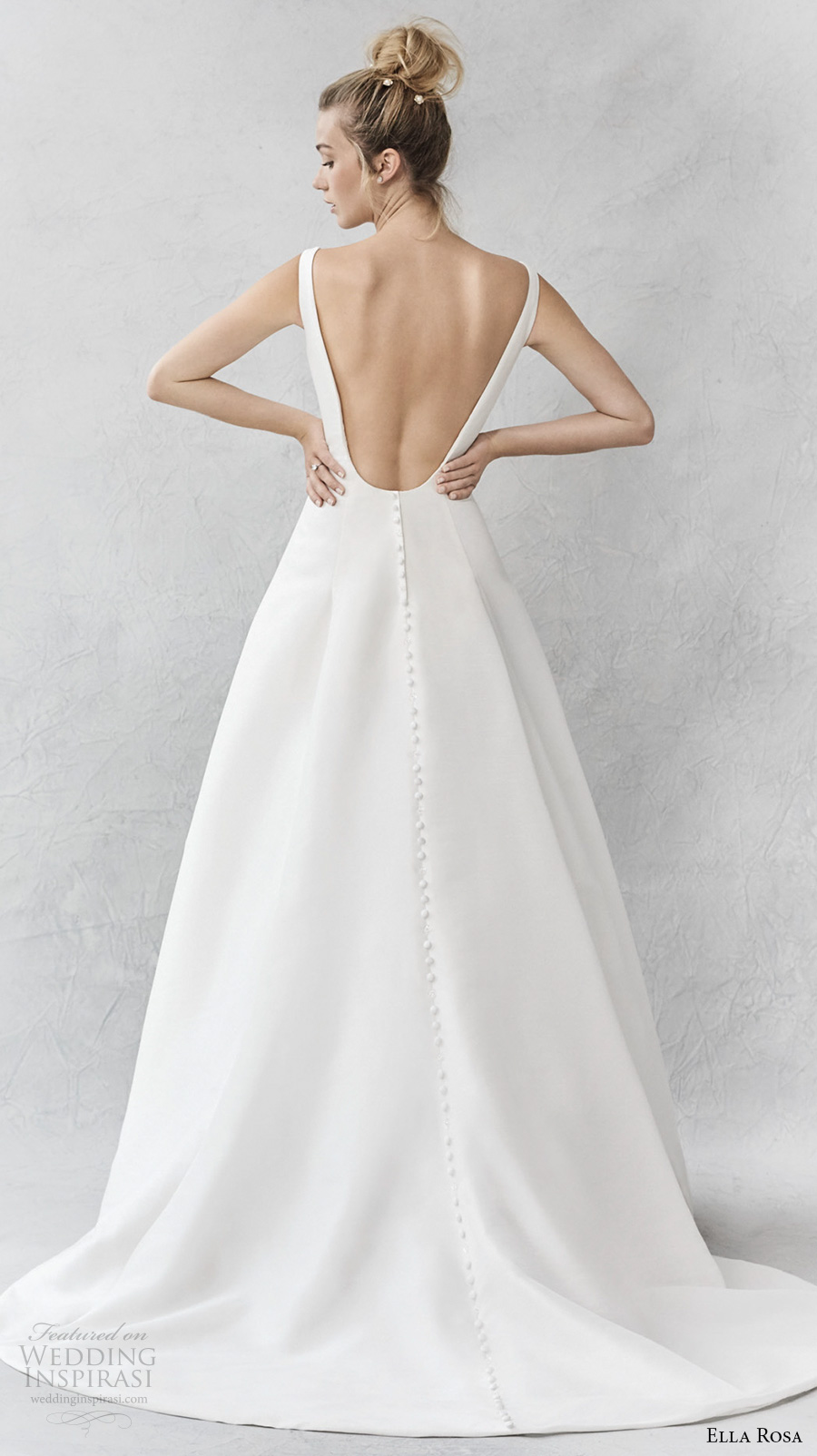 ella rosa spring 2017 bridal sleeveless bateau neck simple clean a  line wedding dress open ultra low back sweep train (375) bv