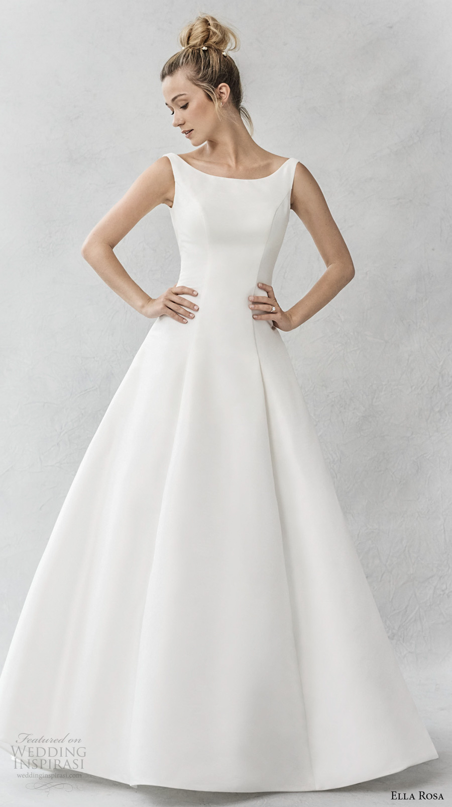 ella rosa spring 2017 bridal sleeveless bateau neck simple clean a  line wedding dress open ultra low back sweep train (375) mv