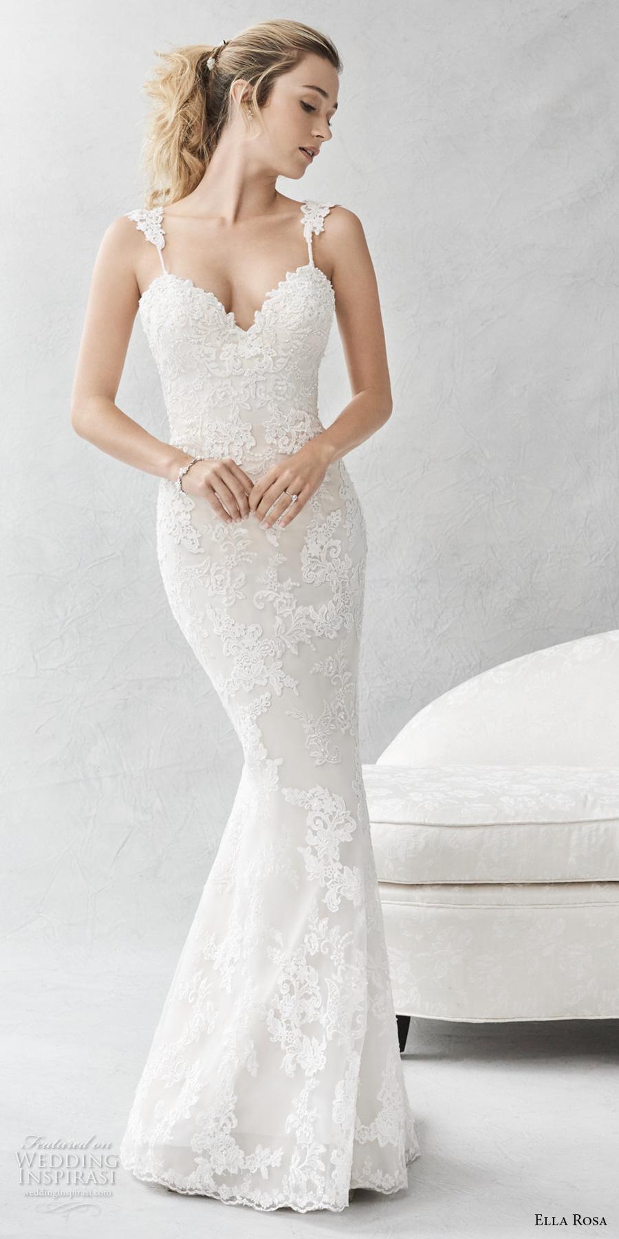 ella rosa spring 2017 bridal sleeveless embroidered strap sweetheart neckline full embellishment elegant fit and flare wedding dress open back small train (384) mv