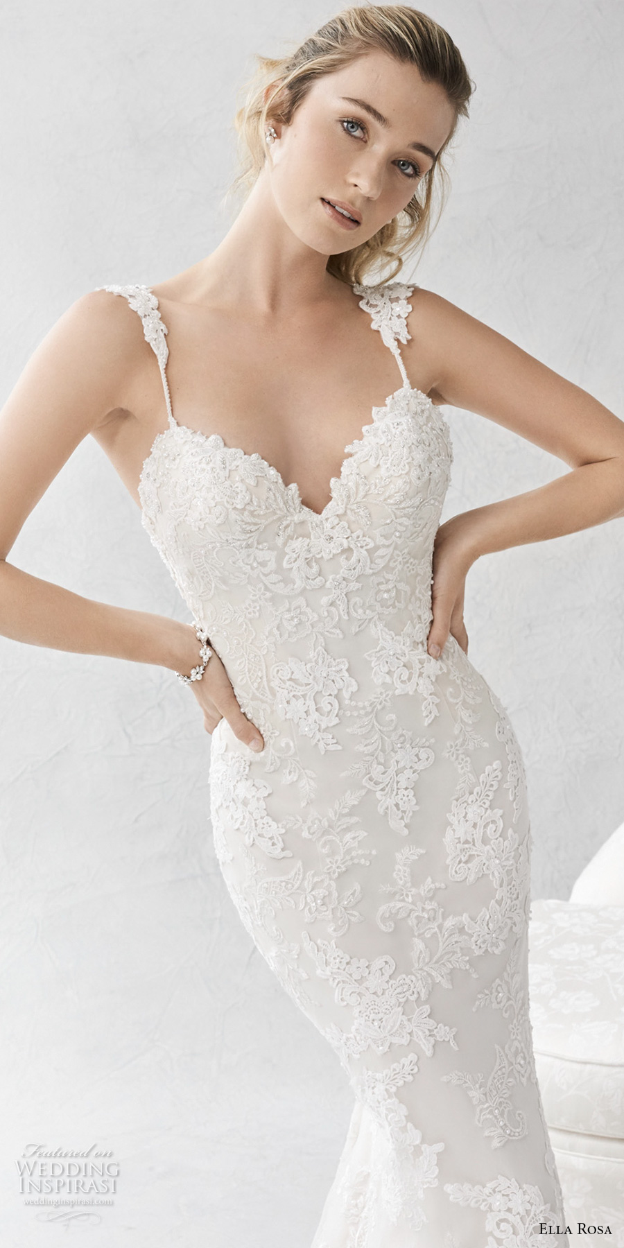 ella rosa spring 2017 bridal sleeveless embroidered strap sweetheart neckline full embellishment elegant fit and flare wedding dress open back small train (384) zv