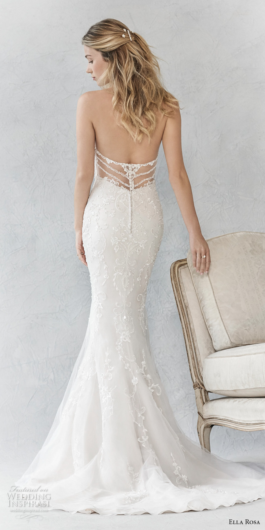 ella rosa spring 2017 bridal sleeveless embroidered strap sweetheart neckline full embellishment elegant fit and flare wedding dress  sweep train (362) bv