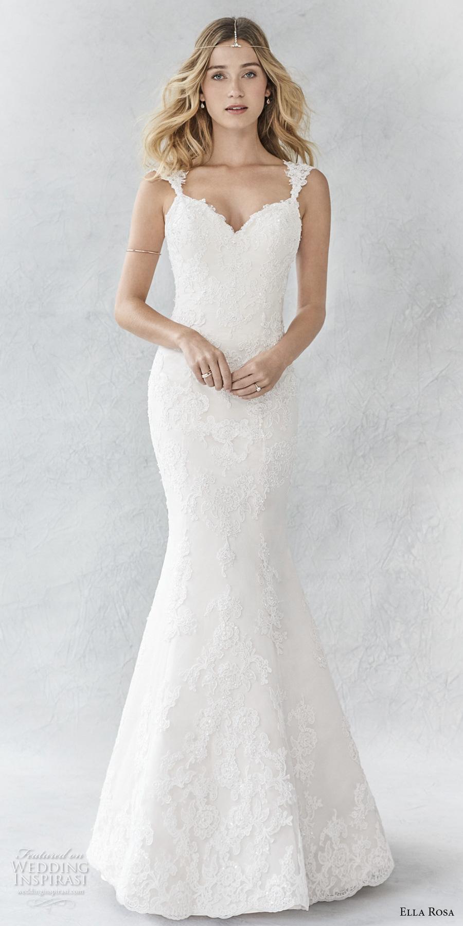 ella rosa spring 2017 bridal sleeveless embroidered strap sweetheart neckline full embellishment elegant fit and flare wedding dress  sweep train (362) mv