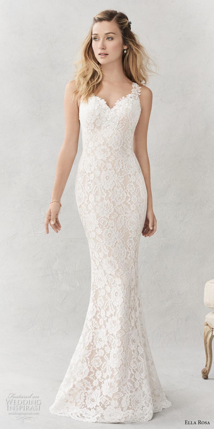 ella rosa spring 2017 bridal sleeveless embroidered strap sweetheart neckline full embellishment elegant sheath fit flare wedding dress sheer back chapel train (356) mv