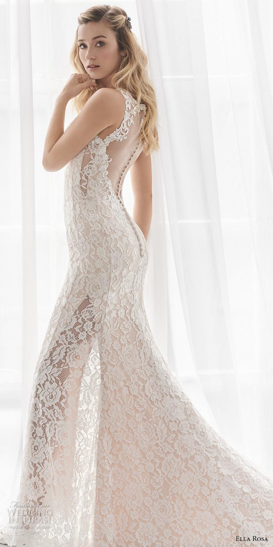 ella rosa spring 2017 bridal sleeveless embroidered strap sweetheart neckline full embellishment elegant sheath fit flare wedding dress sheer back chapel train (356) sdv