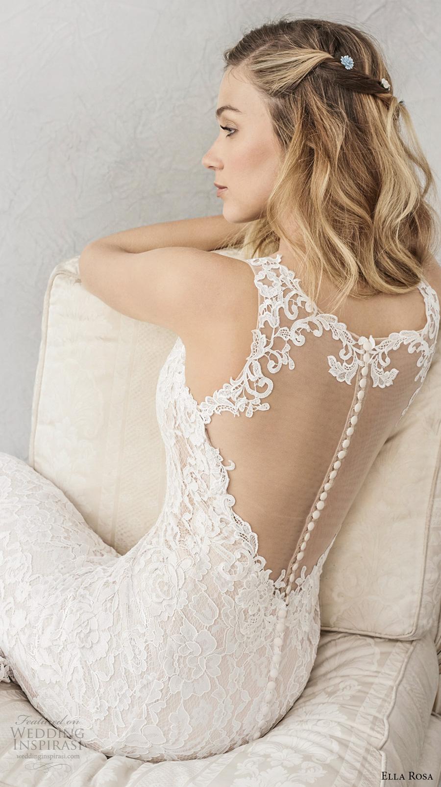 ella rosa spring 2017 bridal sleeveless embroidered strap sweetheart neckline full embellishment elegant sheath fit flare wedding dress sheer back chapel train (356) zbv