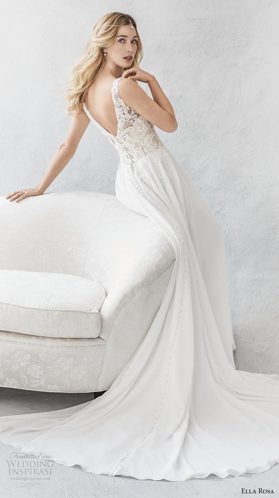 ella rosa spring 2017 bridal sleeveless embroidered strap v neck heavily embroidered bodice romantic modified a  line wedding dress open v back chapel train (379) bv
