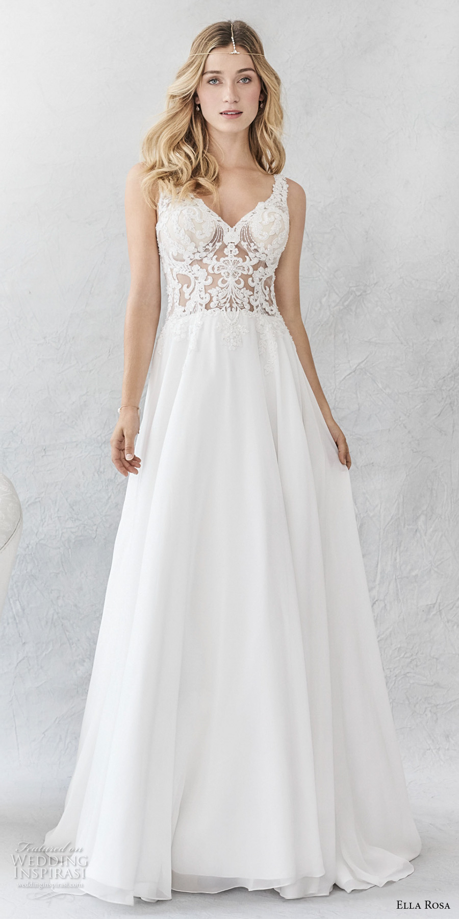 ella rosa spring 2017 bridal sleeveless embroidered strap v neck heavily embroidered bodice romantic modified a line wedding dress open v back chapel train (379) mv