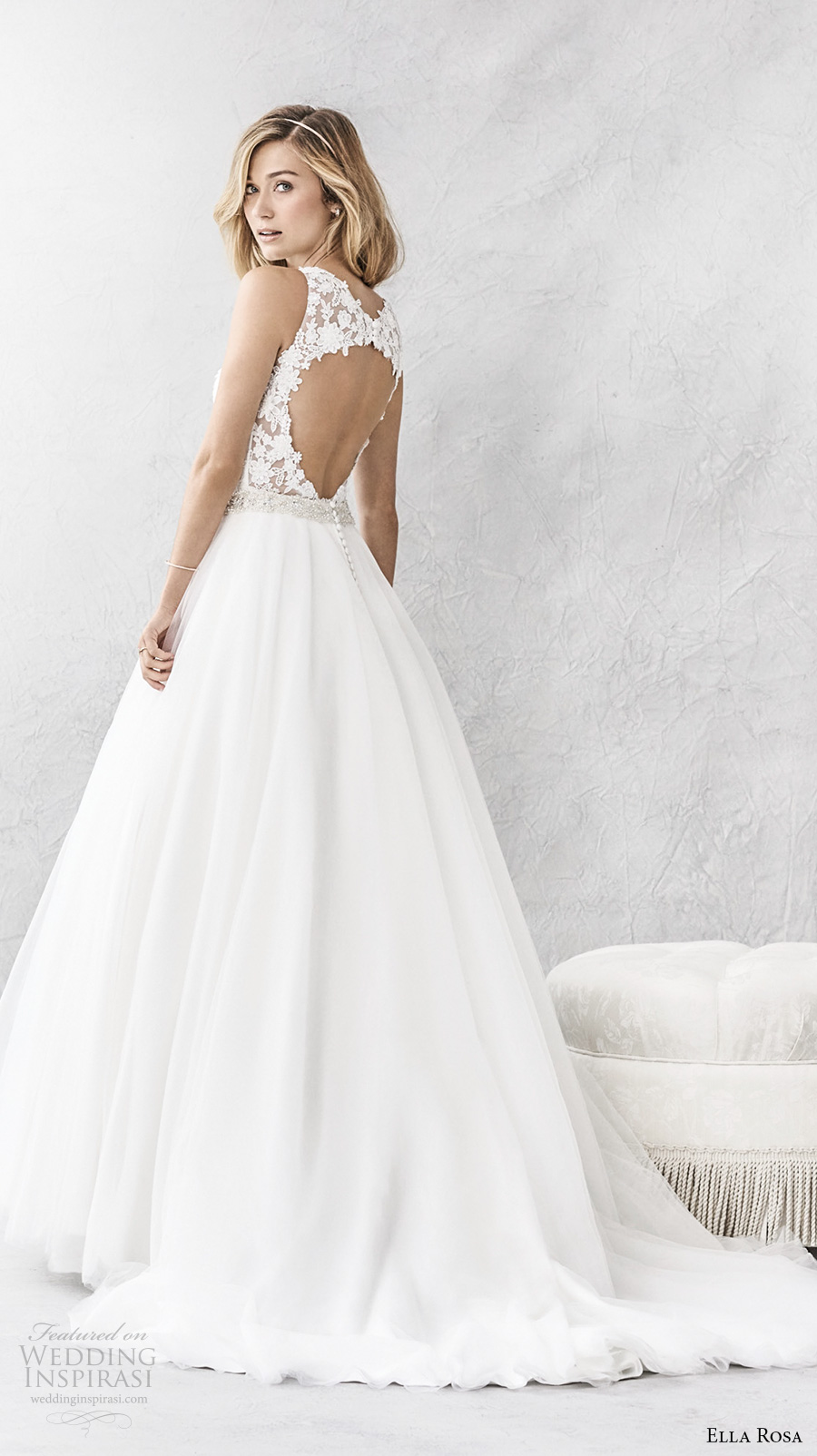 ella rosa spring 2017 bridal sleeveless illusion bateau sweetheart neckline heavily embellished bodice romantic a  line wedding dress keyhole back chapel train (387) bv
