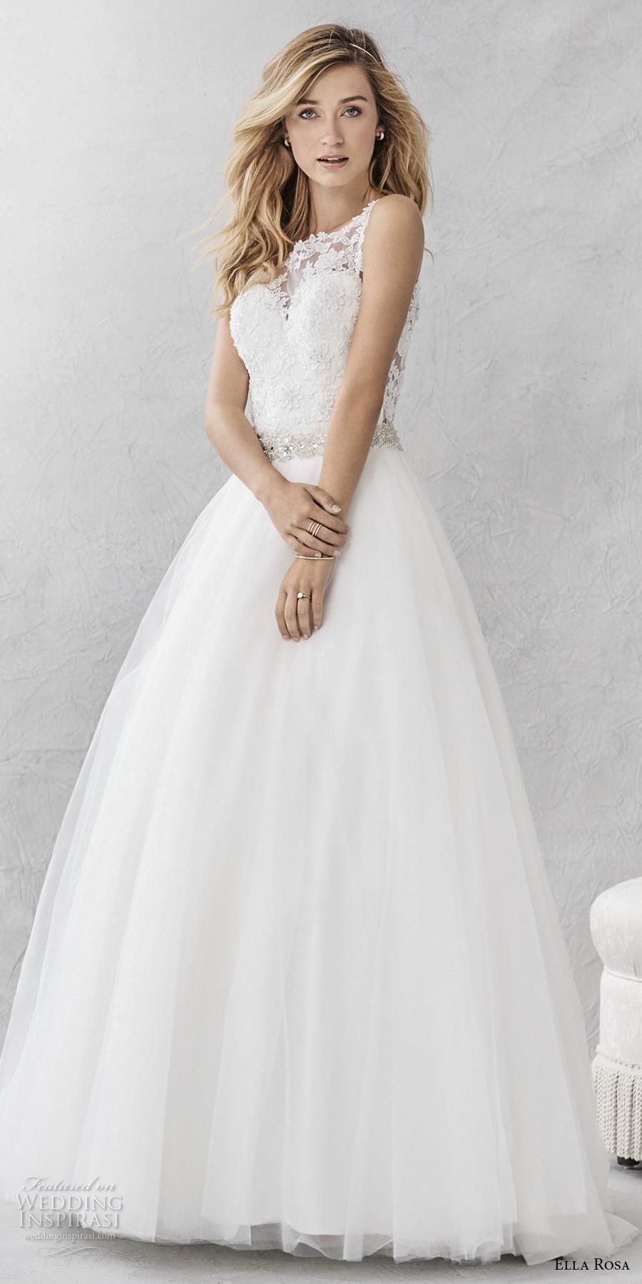 ella rosa spring 2017 bridal sleeveless illusion bateau sweetheart neckline heavily embellished bodice romantic a  line wedding dress keyhole back chapel train (387) mv