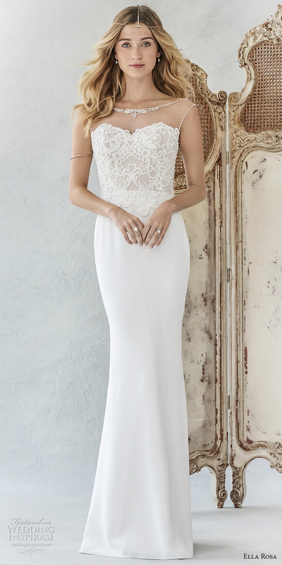 ella rosa spring 2017 bridal sleeveless sheer bateau sweetheart neckline heavily embellished bodice elegant sheath wedding dress open scoop back chapel train (370) mv