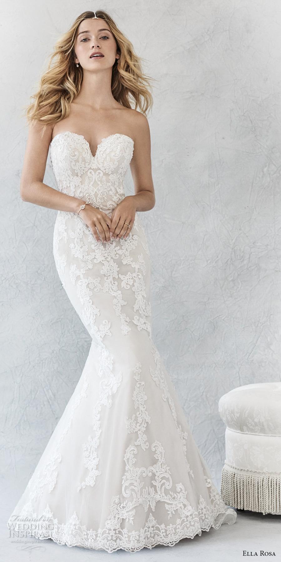 ella rosa spring 2017 bridal sleeveless strapless deep sweetheart neckline heavily embellished bodice elegant romantic mermaid wedding dress (372) mv