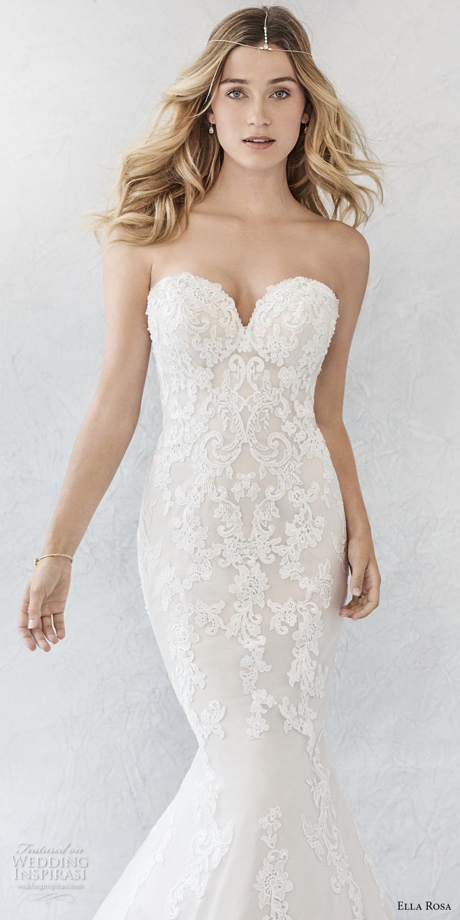 ella rosa spring 2017 bridal sleeveless strapless deep sweetheart neckline heavily embellished bodice elegant romantic mermaid wedding dress (372) zv