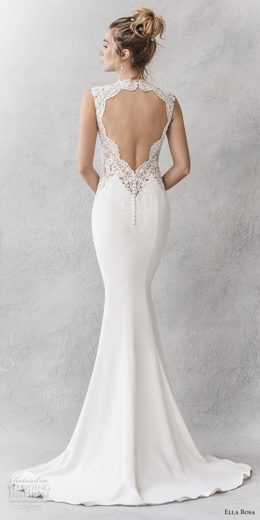 ella rosa spring 2017 bridal sleeveless thick strap sweetheart neckline heavily embellished bodice sheath wedding dress keyhole back sweep train (354) bv