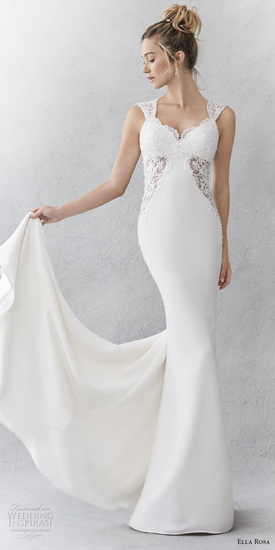 ella rosa spring 2017 bridal sleeveless thick strap sweetheart neckline heavily embellished bodice sheath wedding dress keyhole back sweep train (354) mv