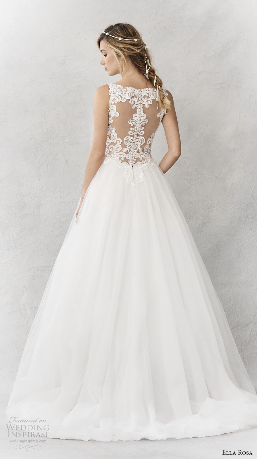 ella rosa spring 2017 bridal sleeveless thick strap v neck heavily embellished bodice romantic a line wedding dress cover lace back sweep train (363) bv
