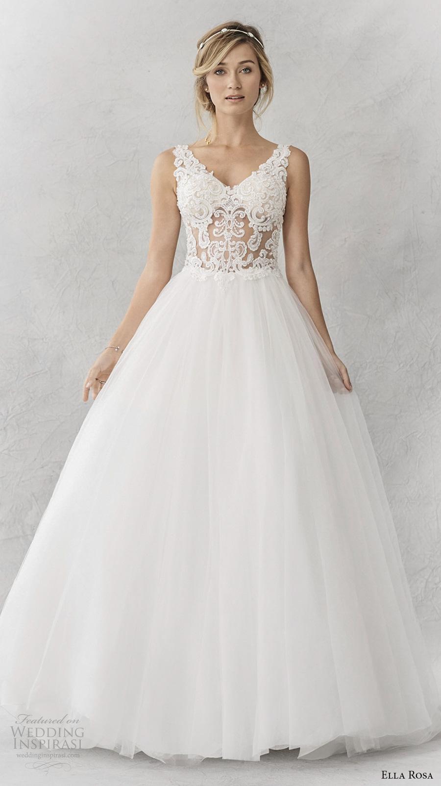 ella rosa spring 2017 bridal sleeveless thick strap v neck heavily embellished bodice romantic a  line wedding dress cover lace back sweep train (363) mv