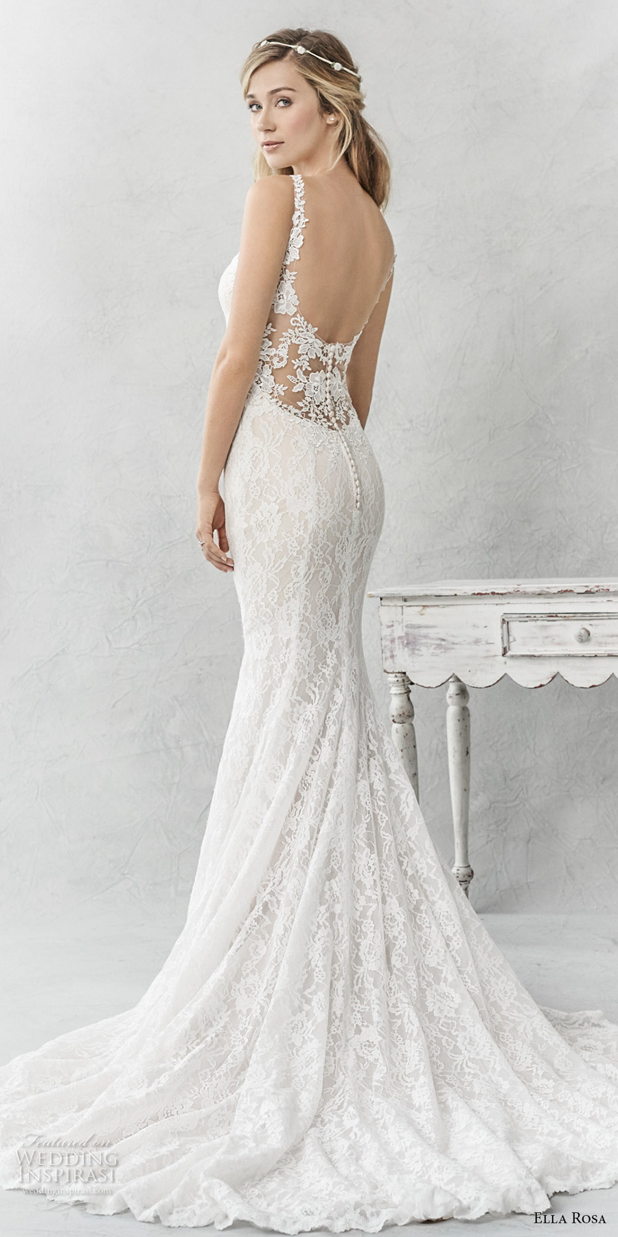 ella rosa spring 2017 bridal sleeveless thin strap sweetheart neckline full embellishment elegant sheath fit flare wedding dress open back chapel train (365) bv