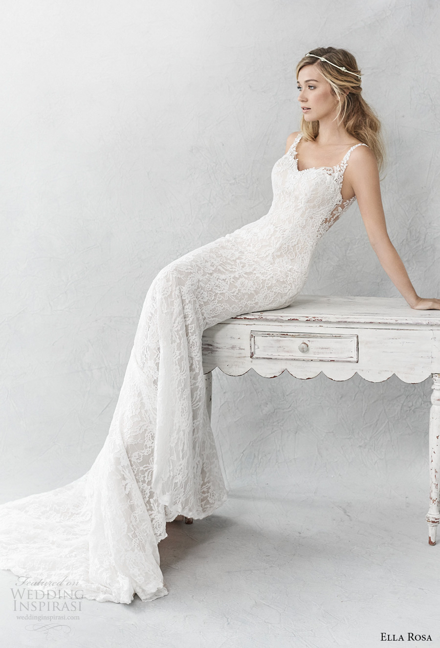 ella rosa spring 2017 bridal sleeveless thin strap sweetheart neckline full embellishment elegant sheath fit flare wedding dress open back chapel train (365) mv