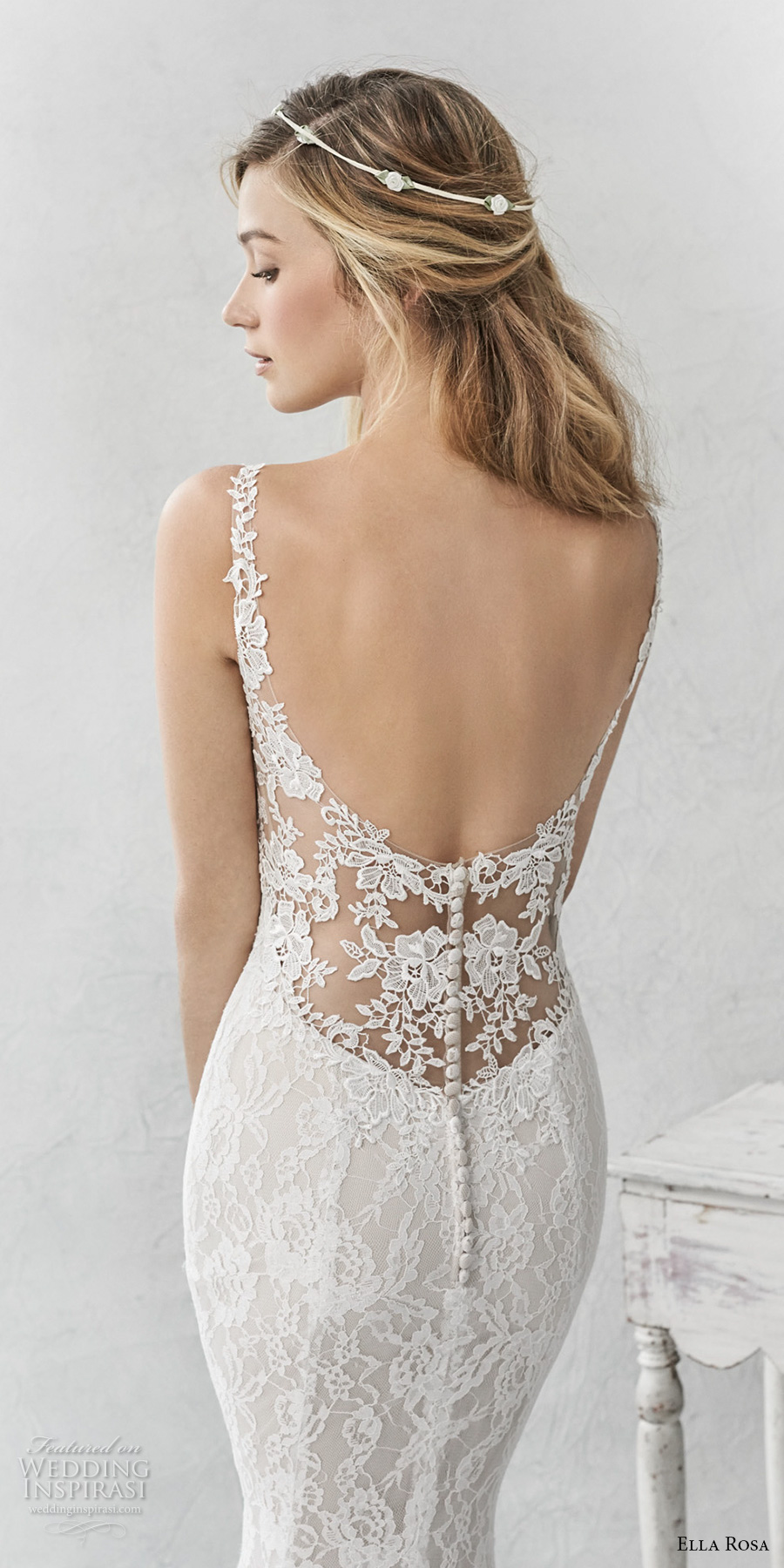 ella rosa spring 2017 bridal sleeveless thin strap sweetheart neckline full embellishment elegant sheath fit flare wedding dress open back chapel train (365) zbv
