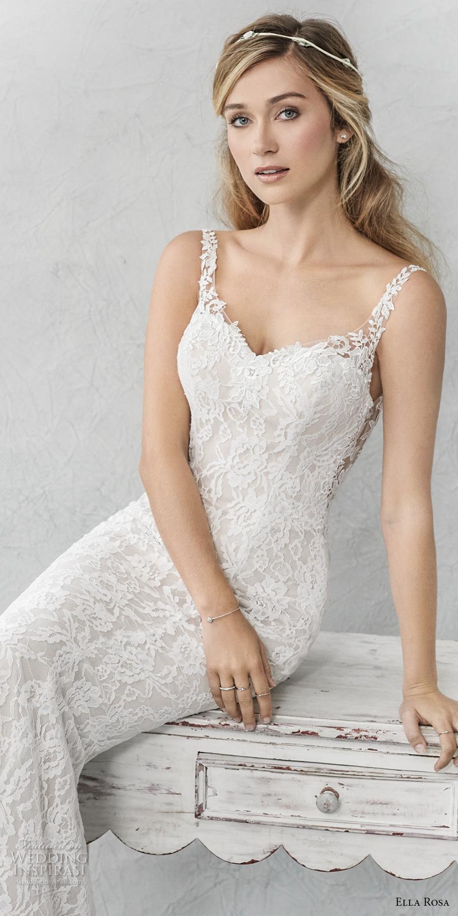ella rosa spring 2017 bridal sleeveless thin strap sweetheart neckline full embellishment elegant sheath fit flare wedding dress open back chapel train (365) zv