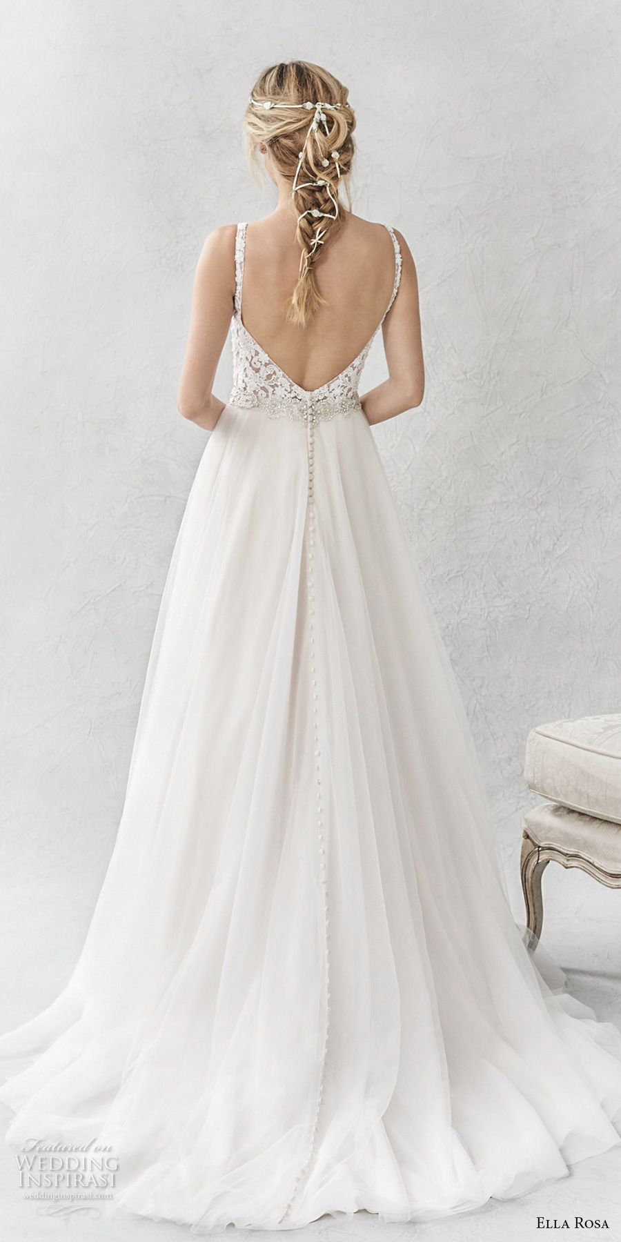 ella rosa spring 2017 bridal sleeveless with strap deep plunging sweetheart neckline heavily embellished bodice open scoop back sweep train (358) bv