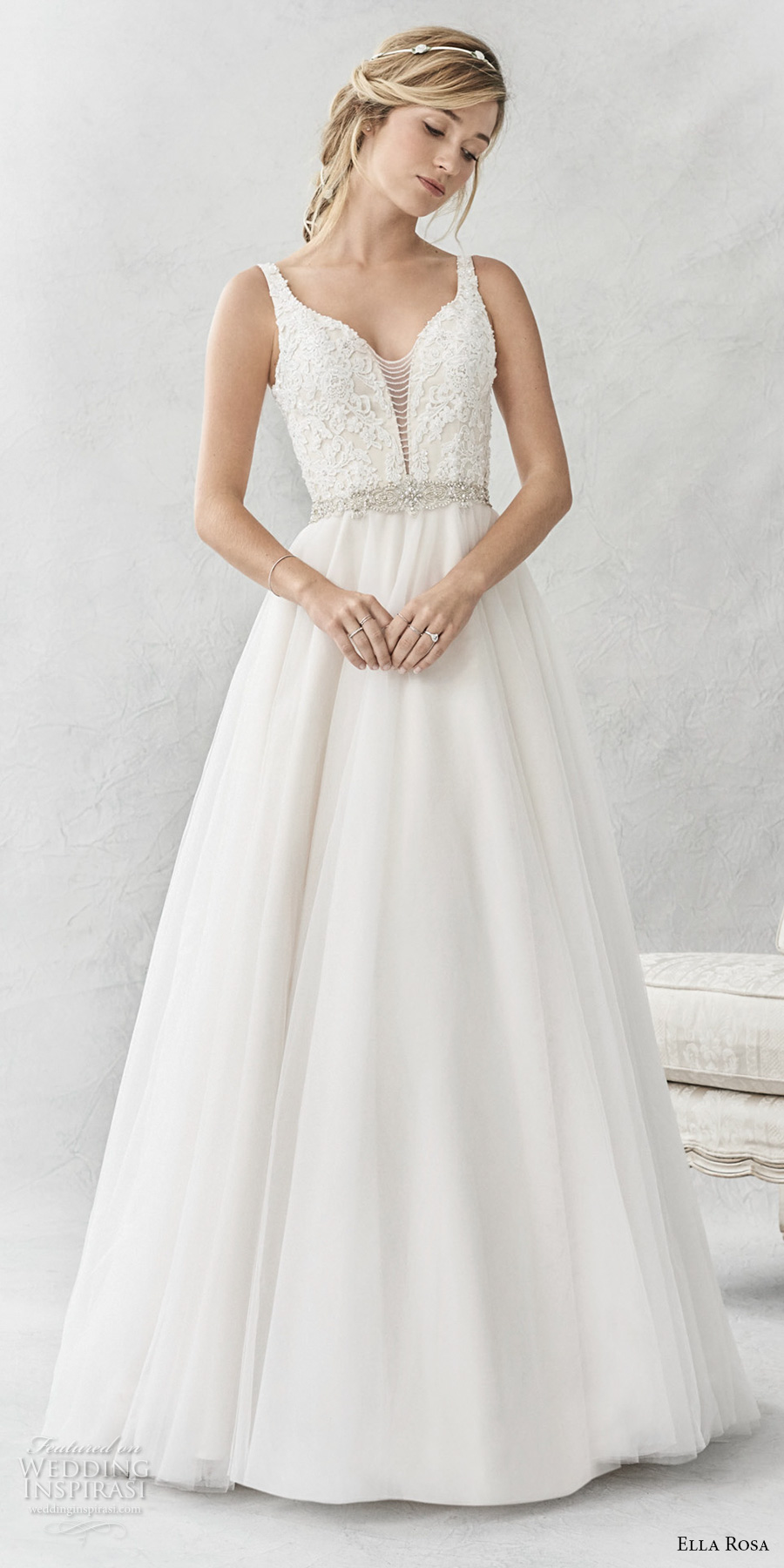 ella rosa spring 2017 bridal sleeveless with strap deep plunging sweetheart neckline heavily embellished bodice open scoop back sweep train (358) mv