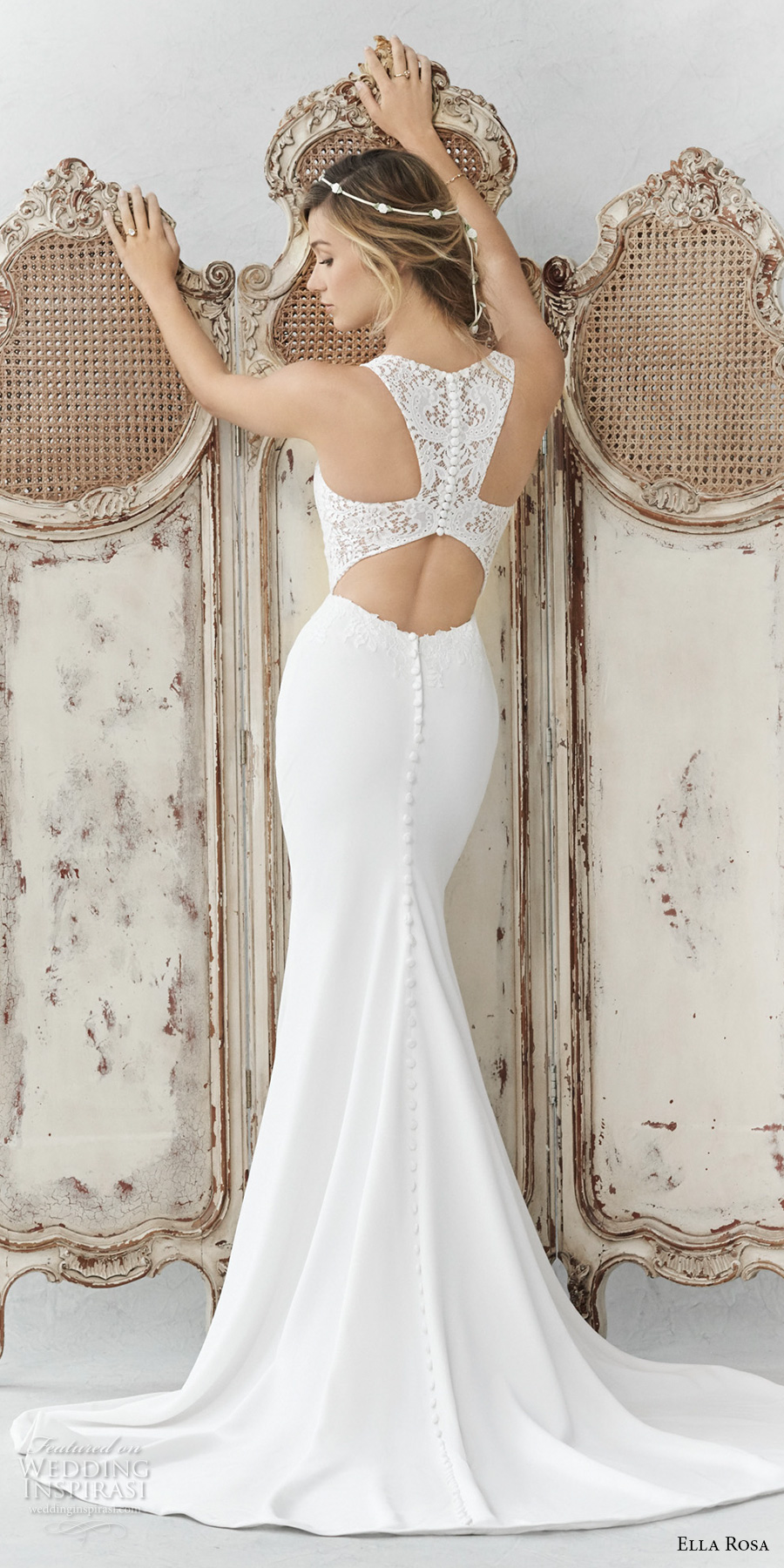 ella rosa spring 2017 bridal sleeveless with strap scoop neck heavily embellished bodice elegant sheath wedding dress rasor back sweep train (360) bv