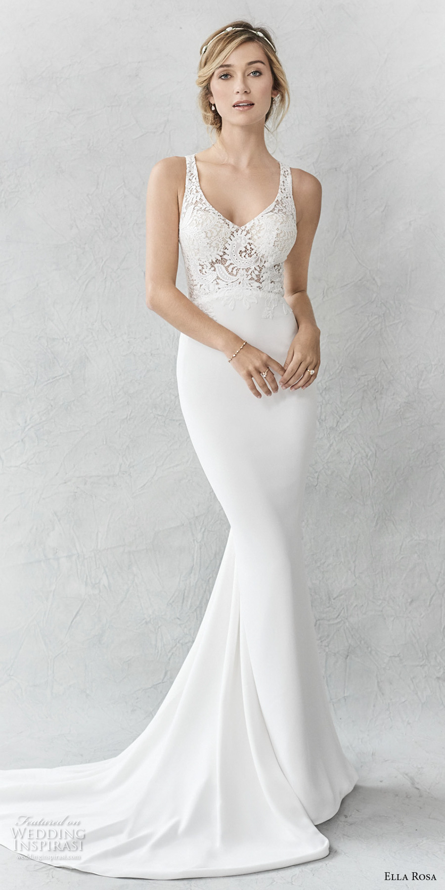 ella rosa spring 2017 bridal sleeveless with strap scoop neck heavily embellished bodice elegant sheath wedding dress rasor back sweep train (360) mv