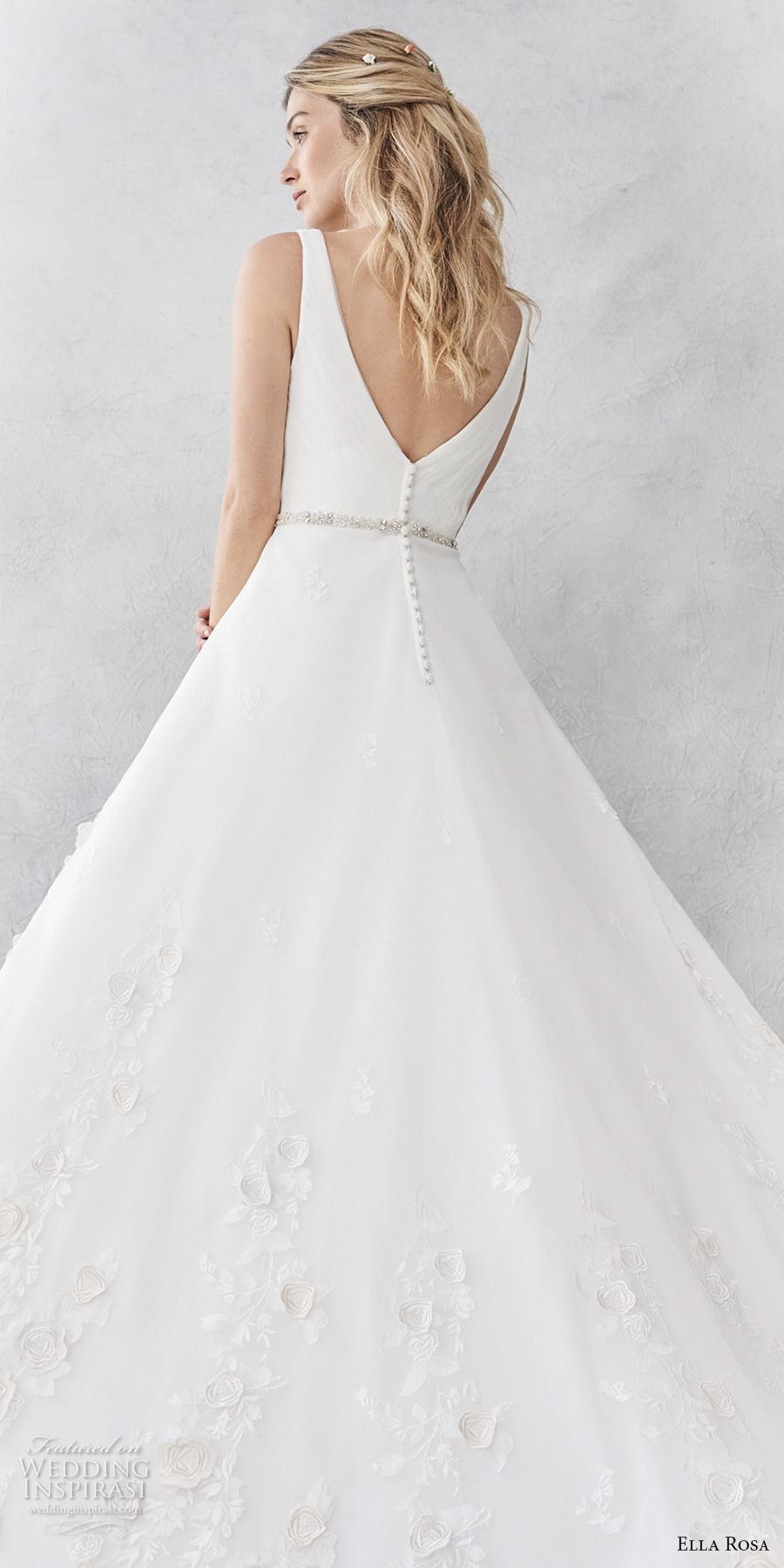 ella rosa spring 2017 bridal sleeveless with strap v neck wrap over bodice romantic a line wedding dress open v back sweep train (369) bv