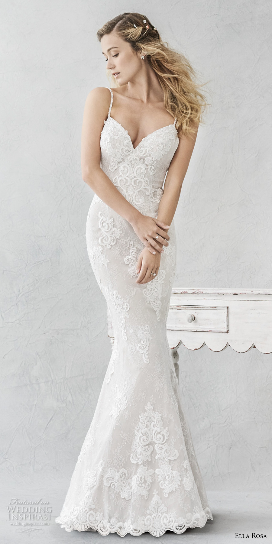 ella rosa spring 2017 bridal spagetti strap sweetheart neckline full embellishment romantic elegant fit and flare wedding dress open back sweep train (380) mv
