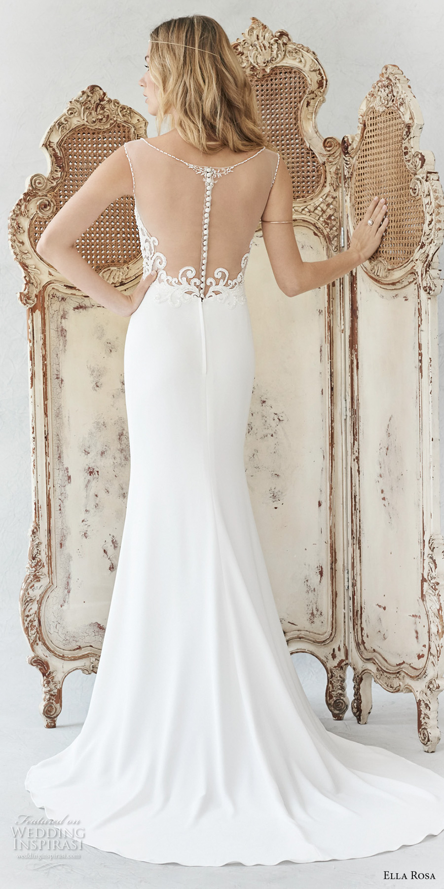 ella rosa spring 2017 bridal strapless semi sweetheart neckline heavily embellished bodice elegant romantic mermaid wedding dress sheer back sweep train (373) bv