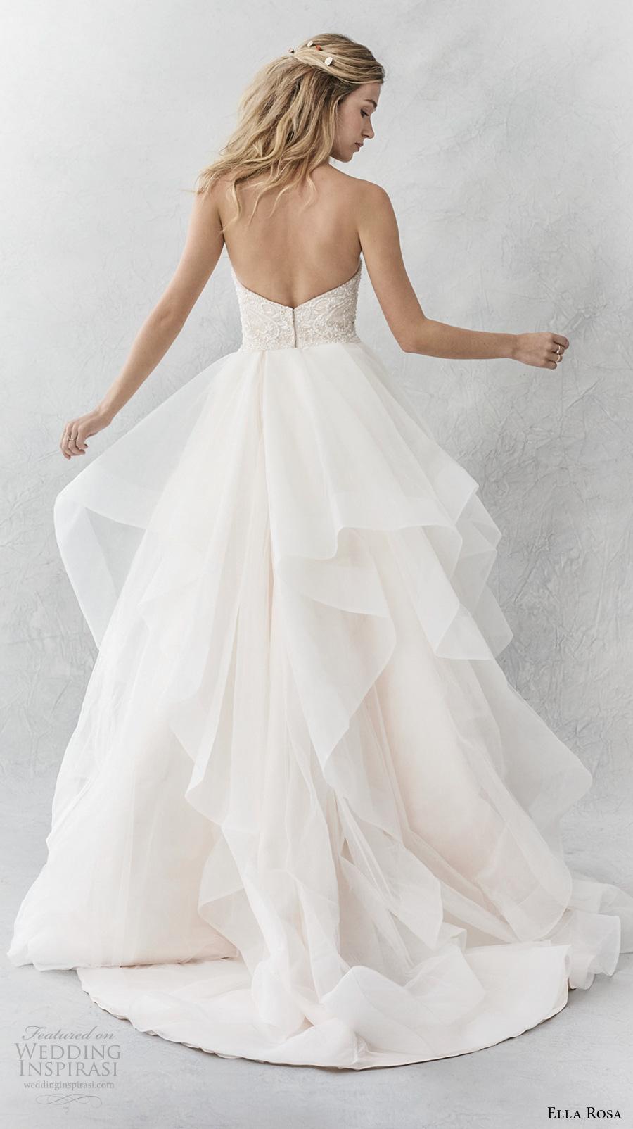 ella rosa spring 2017 bridal strapless semi sweetheart neckline heavily embellished bodice layer skirt romantic a  line wedding dress chapel train (364) bv