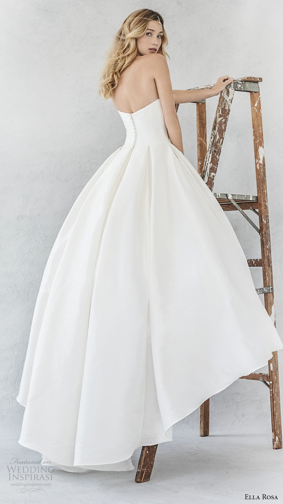 ella rosa spring 2017 bridal strapless semi sweetheart neckline simple clean pleated skirt ball gown a line wedding dress sweep train (374) bv