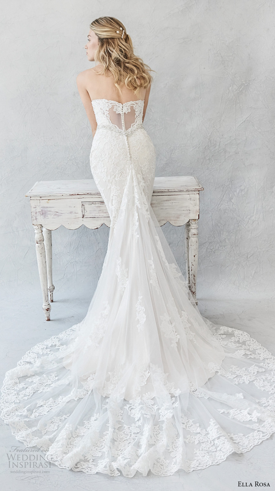 ella rosa spring 2017 bridal strapless sweetheart neckline full embellishment elegant romantic sheath fit flare wedding dress chapel train (377) bv