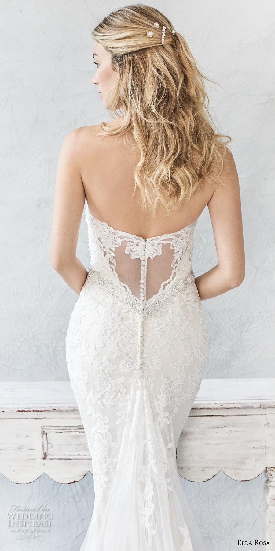 ella rosa spring 2017 bridal strapless sweetheart neckline full embellishment elegant romantic sheath fit flare wedding dress chapel train (377) zbv