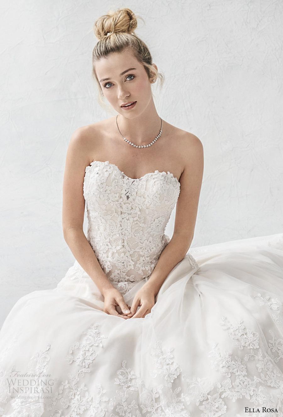 ella rosa spring 2017 bridal strapless sweetheart neckline heavily embellished bodice romantic a  line wedding dress chapel train (388) zv