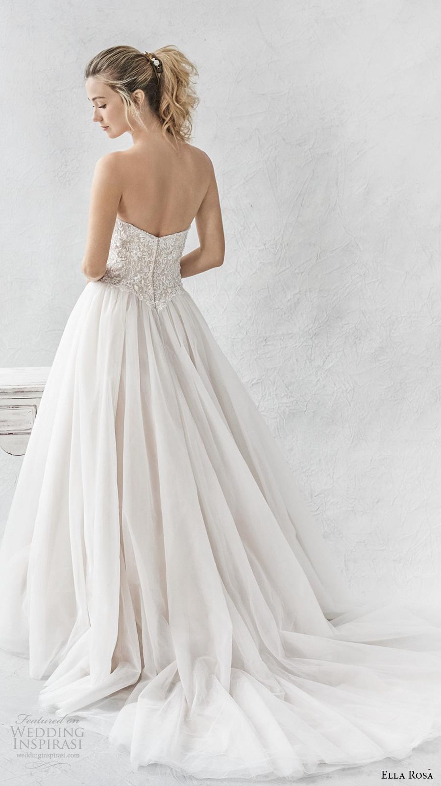ella rosa spring 2017 bridal strapless sweetheart neckline heavily embellished bodice tulle skirt romantic a  line wedding dress chapel train (368) bv